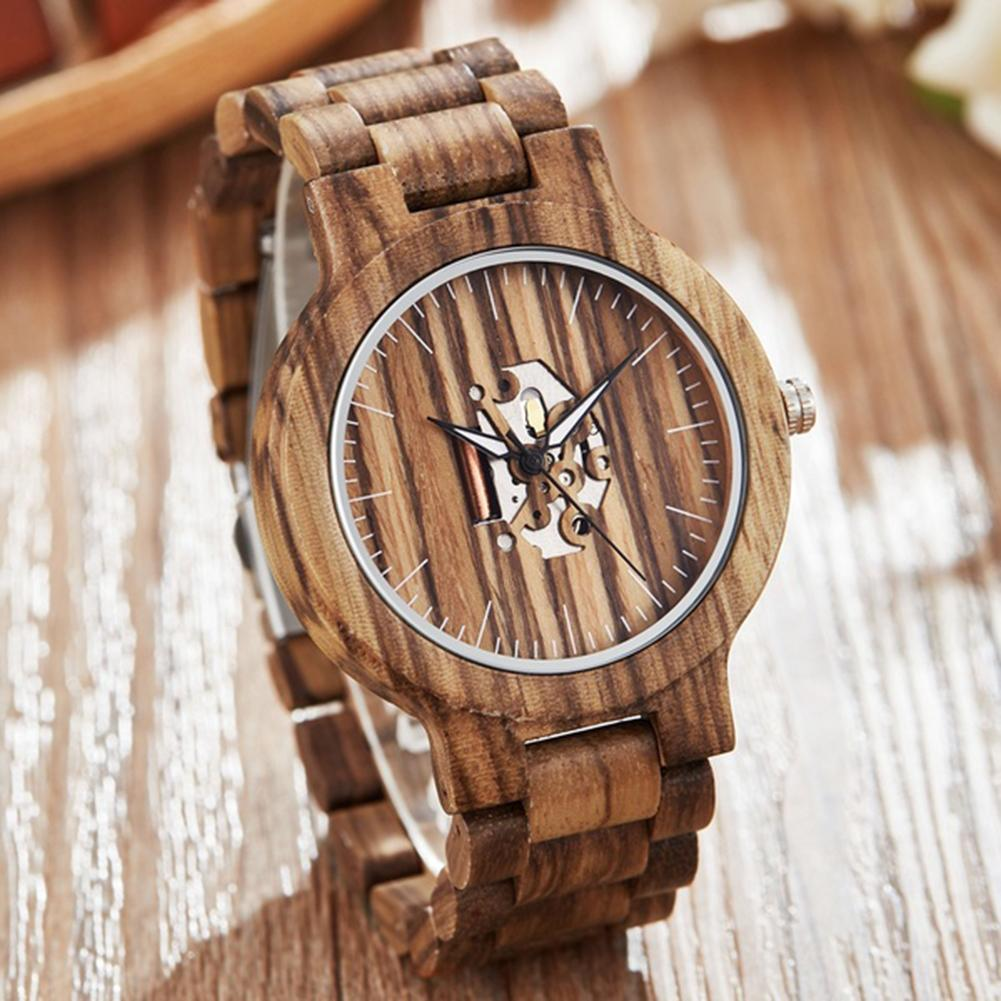 Wooden Round Dial Band No Number Analog Hollow Couple Bracelet Quartz Watch