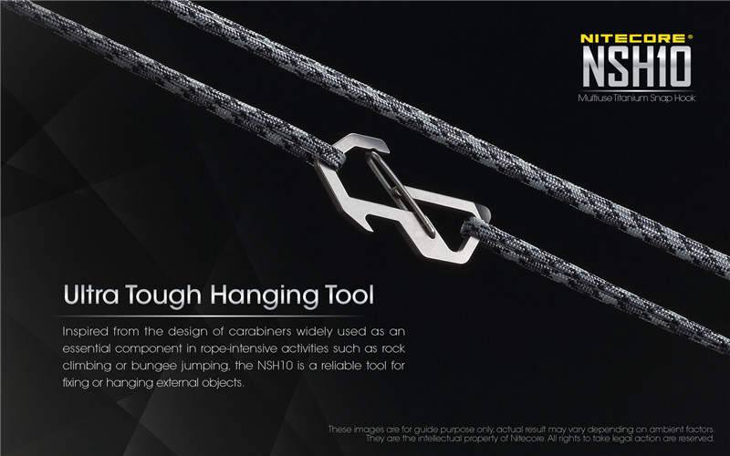 NITECORE NSH10 Titanium Snap Hook Utility Multi-functional Portable EDC Tool for keychain bottle opener hanging