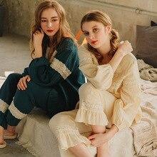 Conjunto de pijamas de estilo japonés ocio femenino cómodo Algodón puro ropa de noche traje Vintage elegante encaje flores vestido de noche