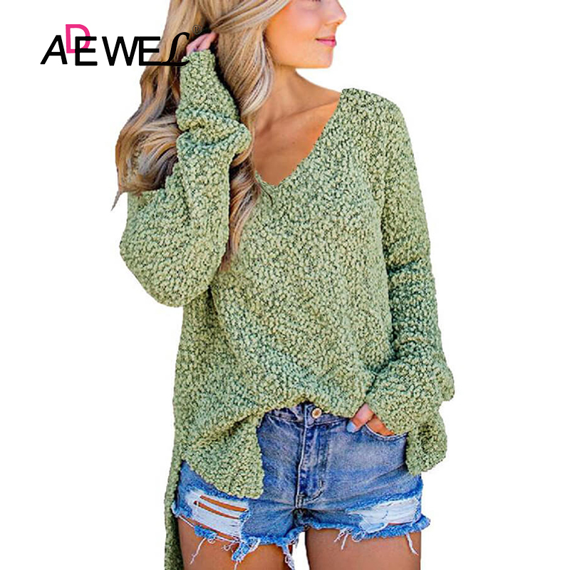 ADEWEL Green V Neck Popcorn Texture Loose Fit Women Sweater V Neck Sueter Mujer Invierno 2019 Solid Color Long Sleeve Dames Tops