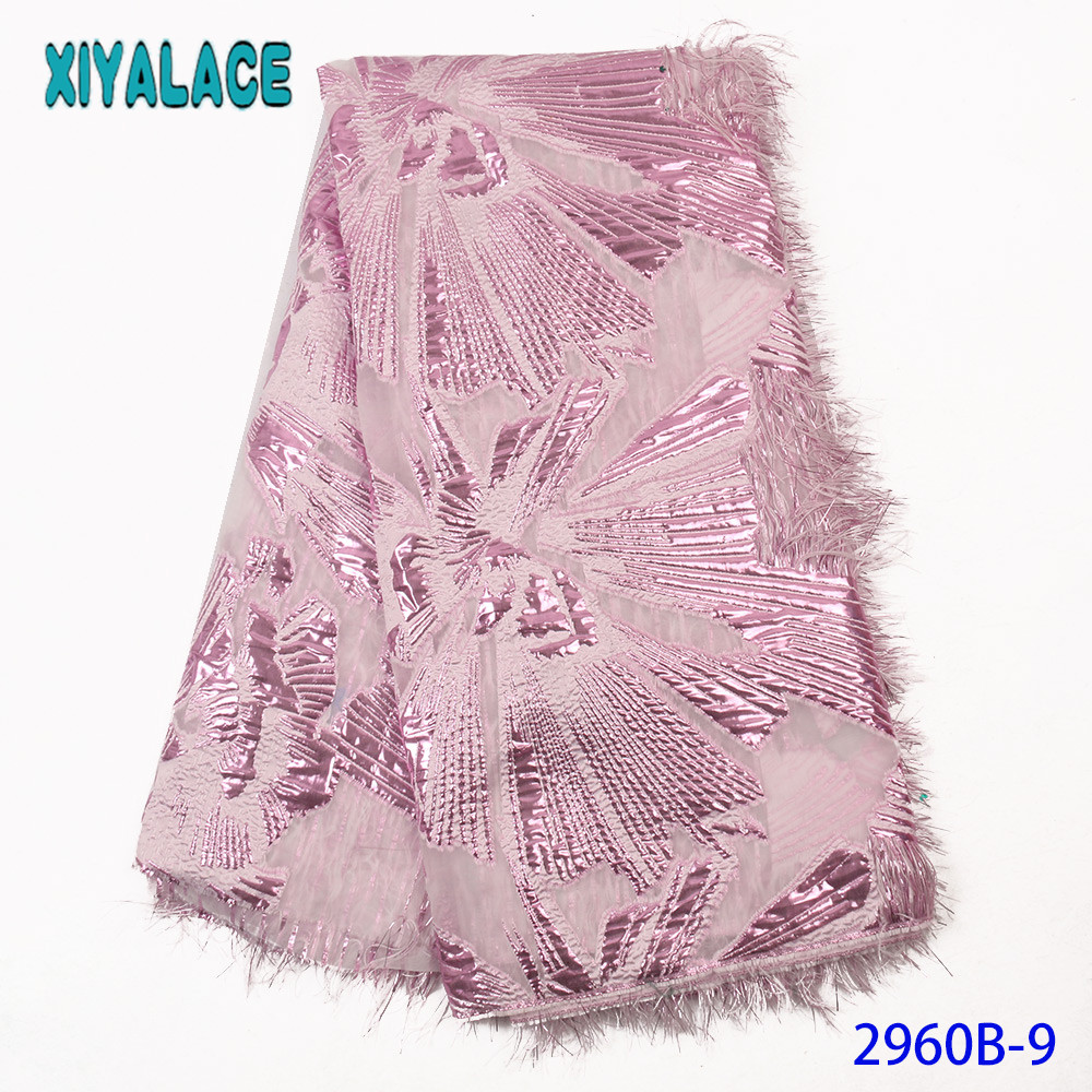 French Lace Fabric Brocade Fabric Lace  Nigerian Lace Fabric 2019 High Quality Lace With Feather KS2960B