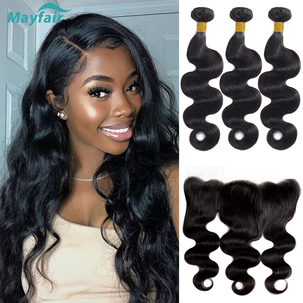 Brazilian Body Wave Bundles With Closure Frontal Natural 13x4 Lace Frontal With Bundles Remy Human Hair Bundles With Frontal
