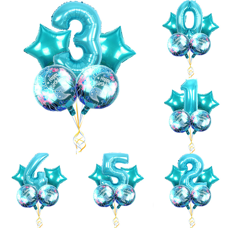 5pcs/lot Mermaid Theme Party Foil Balloons 32inch Blue Number Balloon Kids <font><b>Birthday</b></font> Party Decorations Baby Shower Supplies image