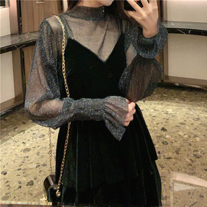 Elegant Dress Women Evening Party Lace Black Designer Dress Female Casual Gothic Sexy One Piece Dress Korean 2020 Autumn Chic