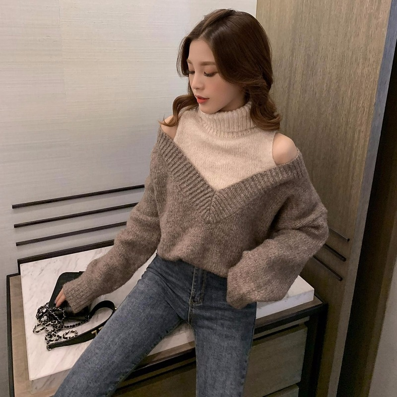 2019 Winter New Korean Version Of The Turtleneck Strapless Sweater Retro Pullover Sweater Women Niche Design Shirt