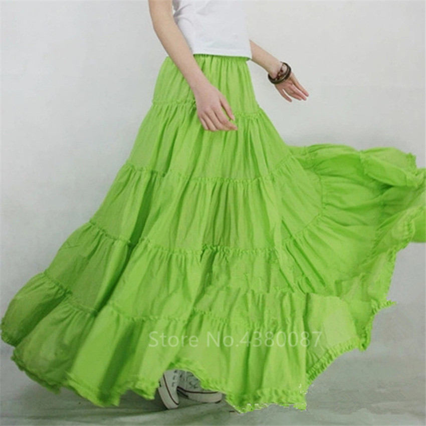 New Spanish Flamenco Skirt Women Female Cotton Big Wing Ruffle Long Skirt Stage Performance Belly Dance Dress Solid Long Gypsy
