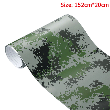 20cm*152cm Camouflage Vinyl PVC Car body Wrap Film Digital Woodland Army Military Green Camo Decal For Auto Motorcycle image