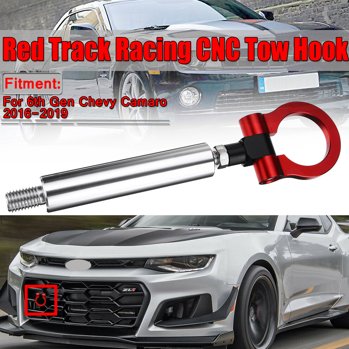 Car Racing Trailer Track Racing CNC Tow Hook Car Lancer Towing Bars For 6th Gen For Chevy Camaro 2016-2019 Aluminum Red
