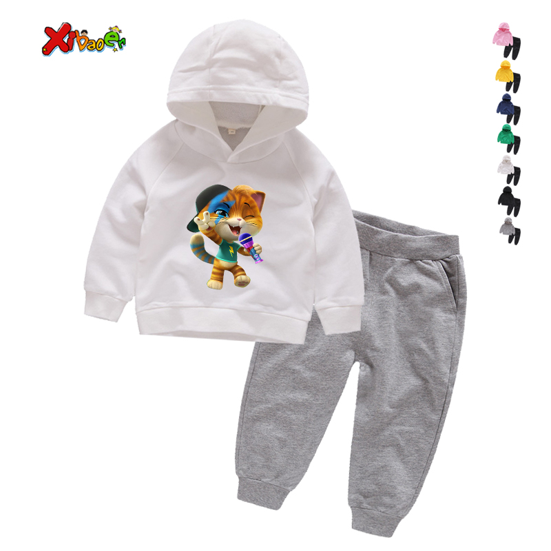 Kids Tracksuits Spring Autumn Children Boys Girls Clothes Suit Baby 44 cat Jacket Pants 2Pcs/sets Toddler Active Cotton Clothing