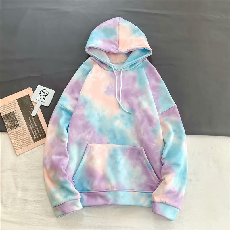 Men Tie Dye Hoodie 2020 Spring Front Pocket Tie Dye Sweatshirt Korea Style Hoodie Oversize Teen Hip Hop Popping RaInbow Hoody