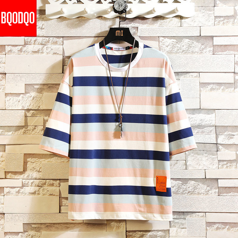 5XL HIP-HOP 2019 T Shirt For Men Fashion Tshirts Striped Male Tees Casual Japanese Summer Short Sleeve Oversized Cotton Stylish