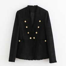 Vintage Women Tweed Blazers Women Fashion Casual Double Breasted Coat Elegant La