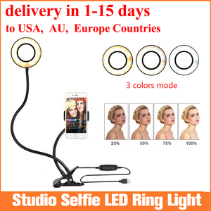 Фото селфи-студия светодиодный кольцевой светильник с держателем мобильного телефона для Youtube Live Stream макияж, лампа телефона для iPhone/Android