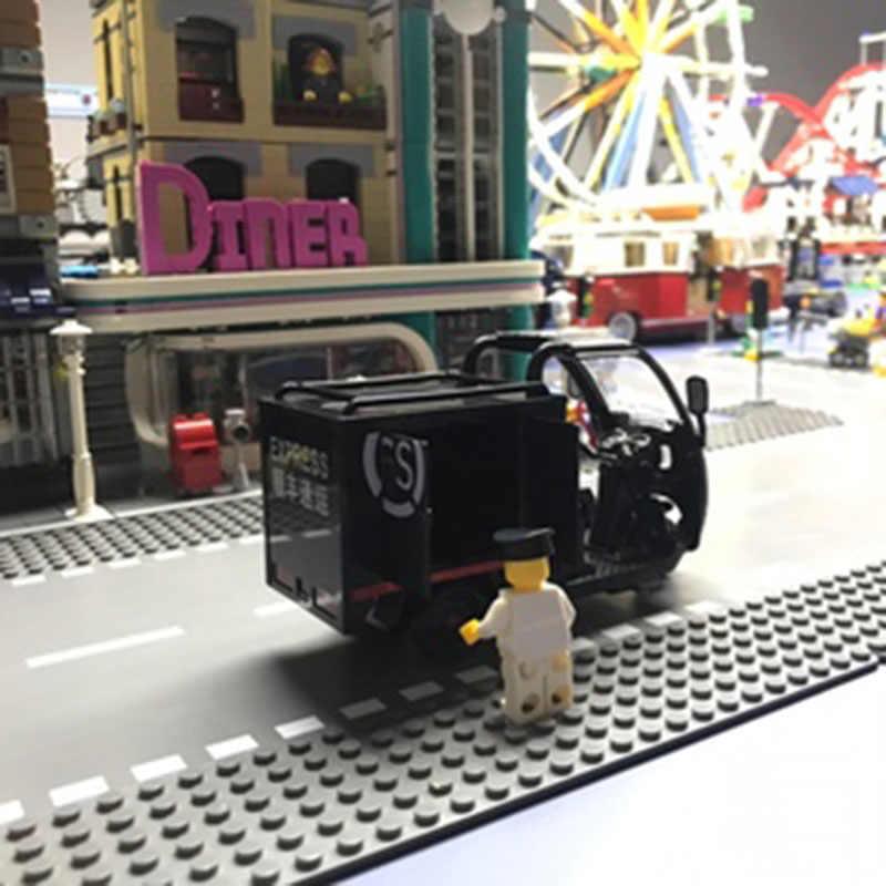 Expresso triciclo liga bateria diecast modelo carro som e luz simulação crianças brinquedos coleção arte fansdecorations decorações