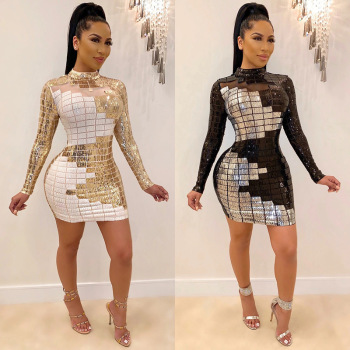 Spring 2020 New Sequin Dress Europe and America Womens Long Sleeve Net Gauze White Black