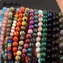 Natural malaquite moonstone tcheco pedra espaçador contas redondas soltas contas para jóias diy fazer pulseira acessórios needlework