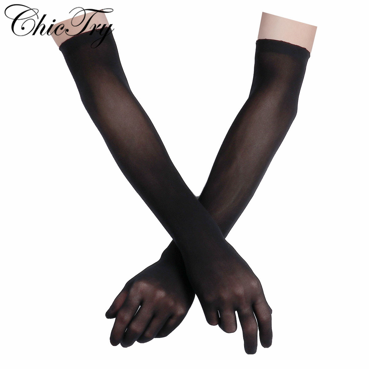 ChicTry See Through Sexy Women Gloves Smooth Sheer Seamles Long Gloves Mittens For Sun Protection Bride Glove Seamless Outdoor