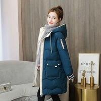 Unten Baumwolle gefütterte Jacke Winter Outwear Kleidung 2021 Neue Koreanische frauen Lange Parka Lose Verdickt Student Mit Kapuze Tops mantel