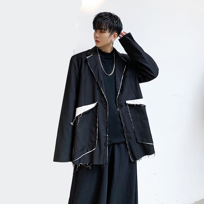 Men Vintage Japan Streetwear Punk Gothic Hip Hop Loose Casual Blazer Jacket Male Slit Splice Suit Coat Outerwear