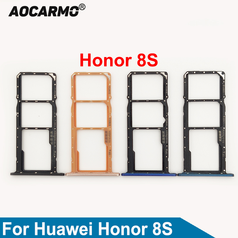 Aocarmo Black/Blue/Gold SD Memory MicroSD Holder Nano Dual Sim Card Tray Slot For Huawei Honor Play 8S Replacement Parts