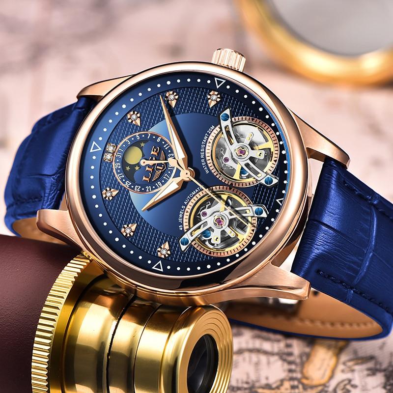 LIGE Mens Watches Double Movement Automatic Watch Men 50 Meter Waterproof Wristwatch Fashion Business Sport Watch Relojes Hombre