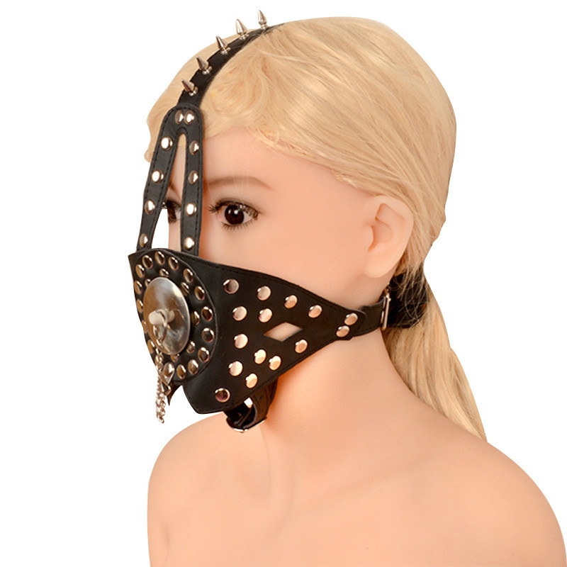 Leather Open Mouth Gag Oral Butt Plug Fetish Collar Slave Bdsm Bondage Harness Mask Hood Adult Products Sex Toys For Couples