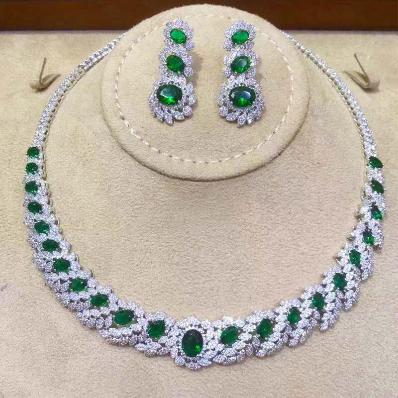 Dazz à la mode gouttes d'eau africaine pendentif collier boucles d'oreilles bijoux de mariage Zircon CZ femmes indiennes mariée luxe bijoux ensembles 2019