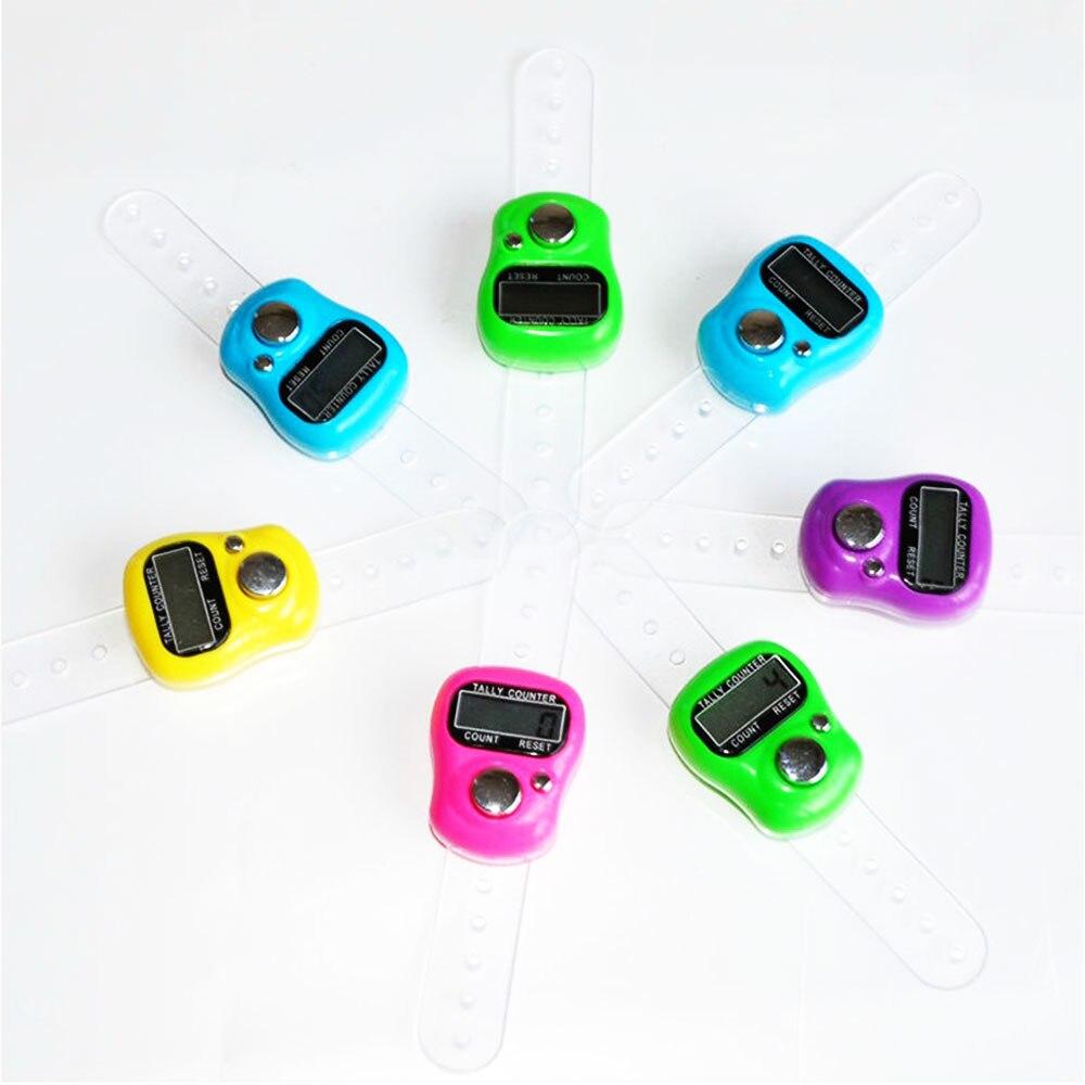 Цифровой счетчик, счетчик пальцев, электронный счетчик, спортивный щелчок, ручной подсчет стежка, маркер, ЖК-дисплей, случайный цвет, кольцо