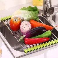 Escurridor de vajilla plegable de silicona, multiusos, para el fregadero de cocina, bandeja para carne, frutas y verduras, organizador de cocina