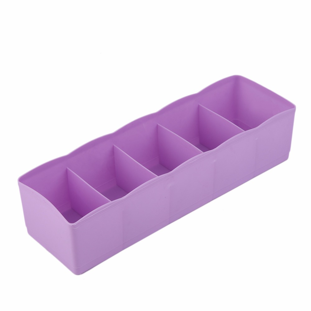 Five Grids Multifunction <font><b>Underwear</b></font> Socks Tiny Things Storage Box Plastic Finishing Box <font><b>Drawer</b></font> Desk Bed Cabinet image