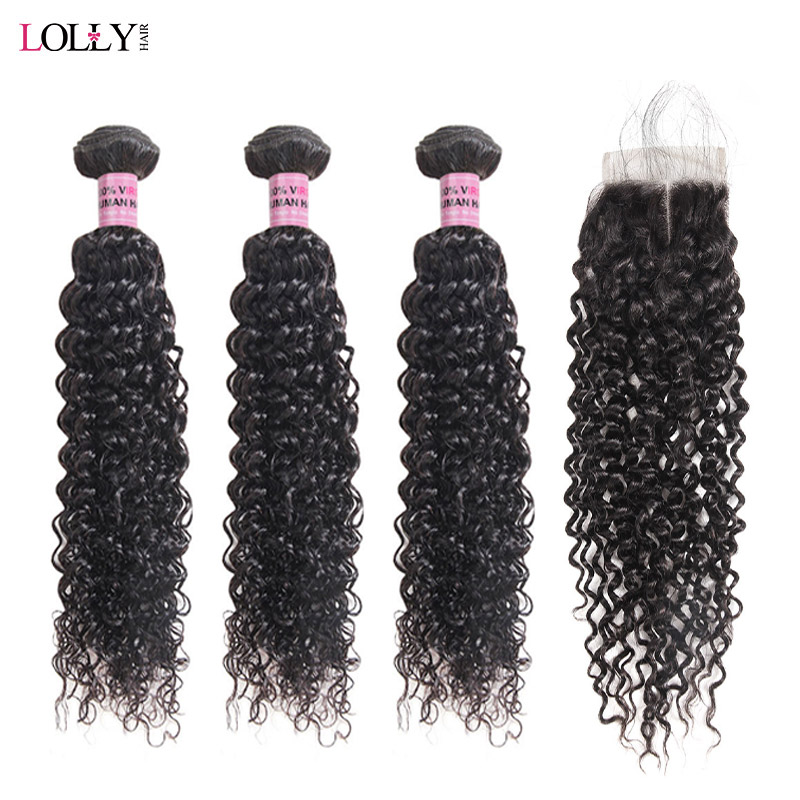 Kinky Curly Hair Bundles With Closure Brazilian Hair Weave Bundles With Closure 2x4 Middle Part 3 Remy Hair And Closure Lolly