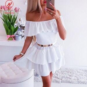Image 2 - Seksi kadın evaze elbise Streetwear için Patchwork tasarım Ruffles dekor kapalı omuz kısa kollu katı bayan yaz ince elbise