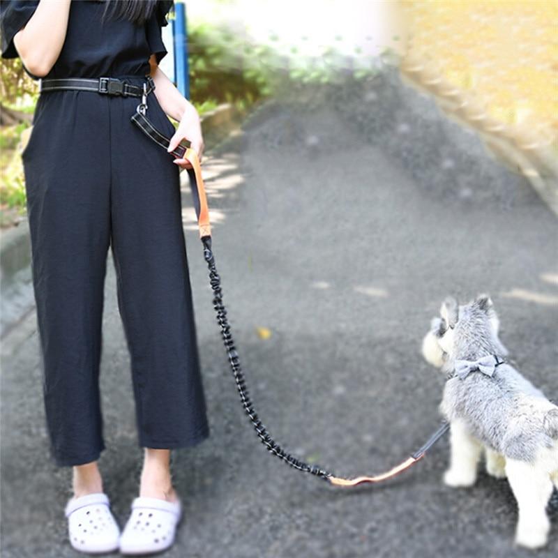 Dogs Hands Free Leash Running Bag Elasticity Freely Hand Harness Collar Jogging Lead Adjustable Waist Rope Waist Belt