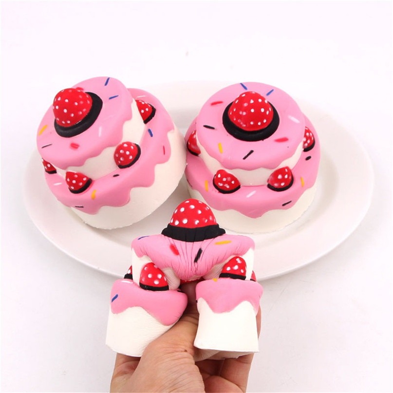Cute Mini Strawberry Cake Stress Reliever Squishy Slow Rising Cream Scented Decompression Cure Toy Squish Toys For Kid #30D17