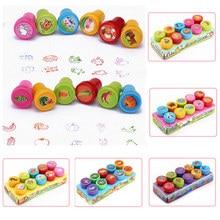 Rond multicolore amusant 10 pièces mignon Panda enfant album à faire soi même enfants timbre dessin animé caoutchouc timbres Scrapbooking récompense jouet
