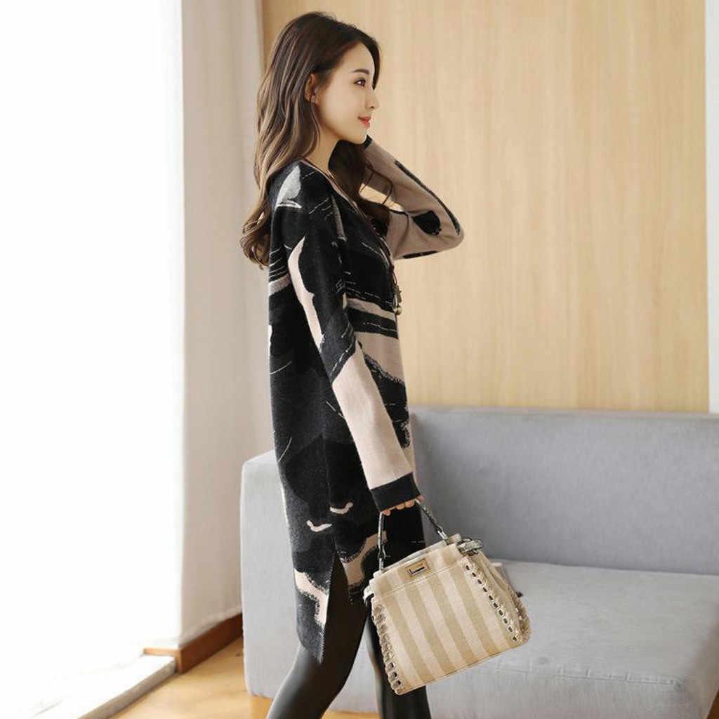 2019 Vrouwen Herfst Winter Jurk Fashion Koreaanse Losse Jurk Gebreide Lange Mouw Trui Jurken Japanse Koreaanse Stijl Jurk