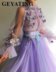 Image 2 - Elegant สีม่วงลาเวนเดอร์ 3D ผีเสื้อดอกไม้ชุดราตรีแขนยาวภาษาสวีดิชคำผู้หญิงอย่างเป็นทางการ Gowns ยาวดูไบพรหม