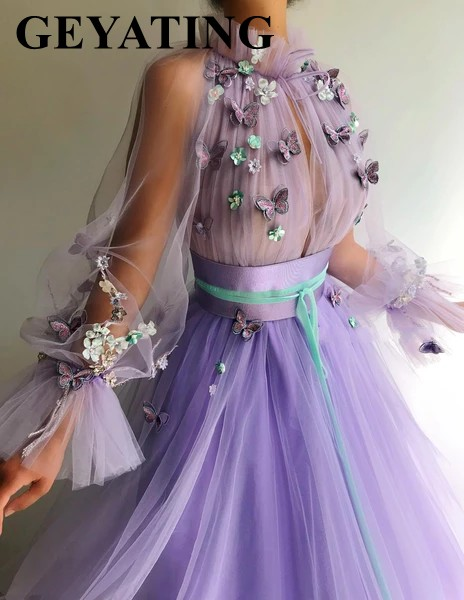 Image 2 - Elegant Purple Lavender 3D Floral Butterflies Evening Dress with Long Sleeves Arabic Women Formal Gowns Long Dubai Prom Dresses-in Evening Dresses from Weddings & Events