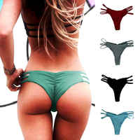 Sexy Womens Swimming Trunks One-Piece Bikini Shorts Brief Thong Bottom Brazilian Hollow Out Swimwear Bath Suit Panty Underwear