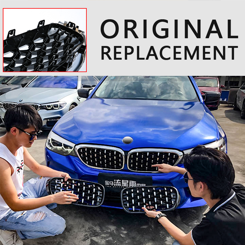 cheapest 2pcs Diamond Grille Racing Grills for BMW E90 F30 F10 G30 G11 X1 F48 X3 G01 X5 E70 F15 X6 E71 F16 Z4 E89 3 5 7 Series Trim Grill