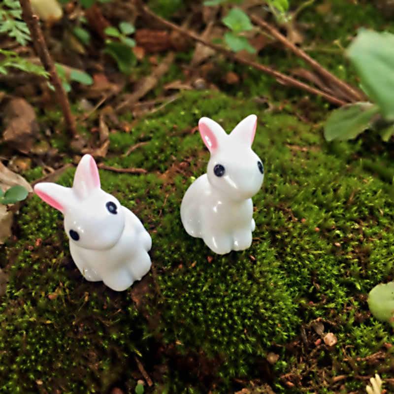 Indah Miniatur 10 Pcs Mini Resin Kelinci Taman Fairy Ornamen Bunga Pot Tanaman Rumah Patung Hewan Dekorasi