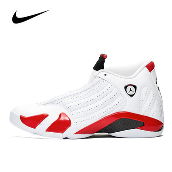 Jordan Shoes Men Original Nike Air Jordan 14 Candy Cane Men's Basketball Shoes HighTop Basketball Unisex Jordan Women 487471-100