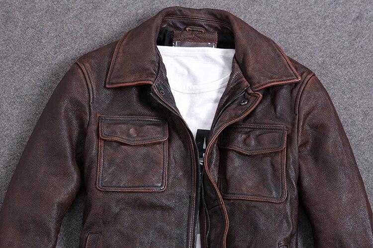 Vintage Genuine Cow Leather Jacket Men Plus Size Cowhide Leather Coat Slim Short Jacket Veste Cuir Homme L-Z-14 YY1366