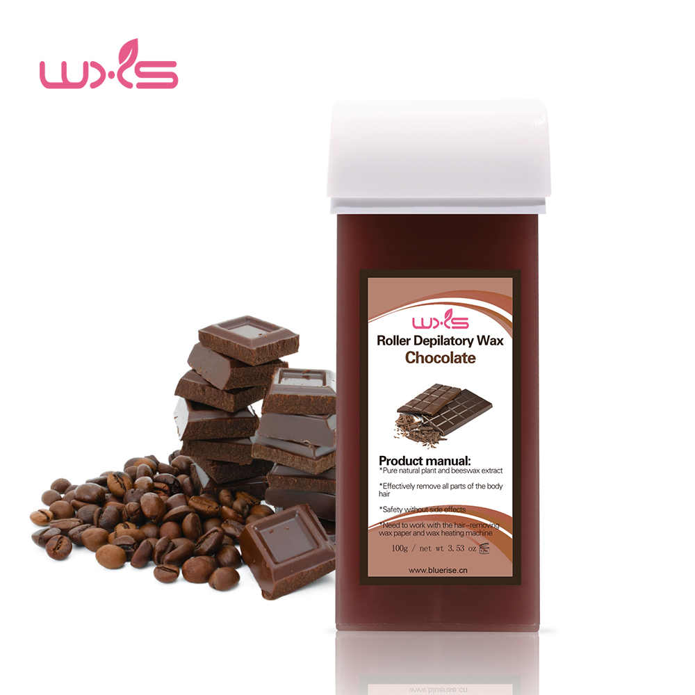 Купить с кэшбэком 100g Depilatory Wax Cartridge Hair Removal Cream Beeswax 5 Flavor Strawberry Rose Chocolate Honey Roll-On Hot Wax All Types Skin