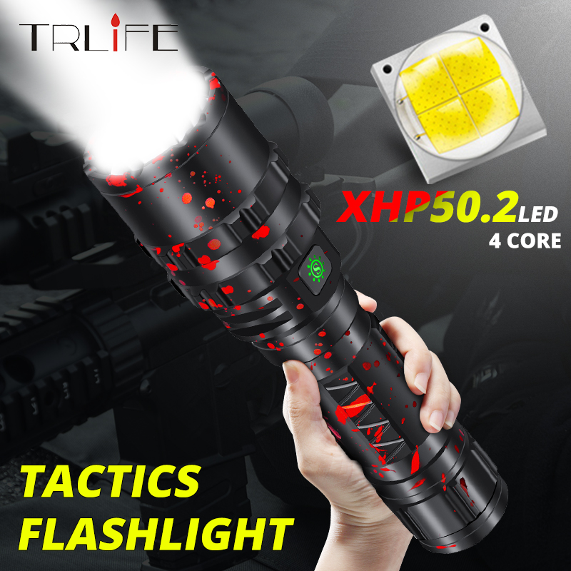 Tactical Flashlight Powerful XHP50.2 LED Flashlight Xlamp Aluminum Hunting L2 Waterproof 18650 26650 Torch Lanterna