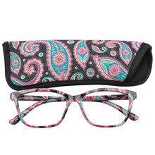 Ti-CARING Womens Pocket Printed Reading Glasses with Matching Pouch Cheap Spring Hinge Presbyopic +1.0 to 4.0