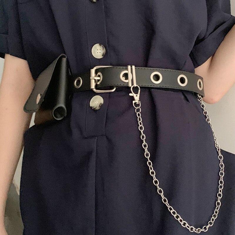 Женский ремень 2020 в стиле панк, модный ремень с пряжкой, поясная цепочка из искусственной кожи, ремень Harajuku, женское платье, джинсовый ремень, сумка, аксессуары|Мужские ремни| | АлиЭкспресс