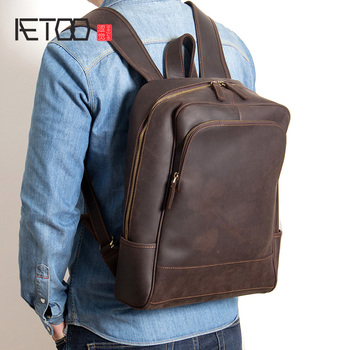 AETOO New leather mens shoulder bags, head travel backpacks, fashion business computer bags
