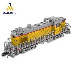 Train Station Union Pacific Railroad Alco RS-2 (1:38) MOC Technic Railway Building Blocks Bricks Train Toy For Children