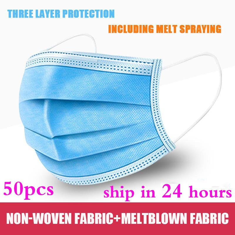 50pcs Disposable Mask 3 Layer Nonwove Ply Filter Mouth Face Mask Meltblown Earloop Mouth Mask
